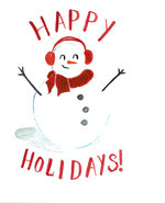 GREETING CARD HAPPY HOLIDAY SNOWMAN