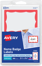 NAME BADGE PRINTABLE ADHESIVE WHITE/RED