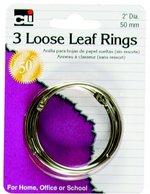 """LOOSE LEAF RINGS 2"""" DIAMETER 3 COUNT"""