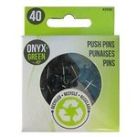 PUSH PINS 40 PK RECYCLED PLASTIC ASST COLORS