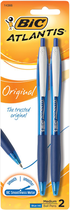 PEN ATLANTIS 2 PACK BLUE INK MEDIUM POINT