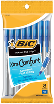 PEN EXTRA COMFORT ROUND STICK 8 PACK BLUE INK MEDIUM POINT