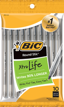 PEN ROUND STICK XTRA LIFE 10 PACK BLACK INK MEDIUM POINT