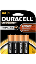BATTERY DURACELL COPPERTOP AA 4 PACK