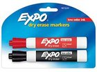 MARKER DRY ERASE 2 PACK RED BLACK LOW ODOR