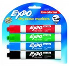 MARKER DRY ERASE 4 PACK RED BLUE GREEN BLACK LOW ODOR
