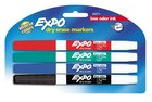 MARKER DRY ERASE THIN 4 PACK RED BLUE GREEN BLACK LOW ODOR