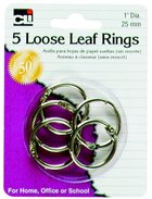 "LOOSE LEAF RINGS 5 PACK 1"" DIAMETER"