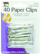 PAPER CLIPS JUMBO METAL 40 COUNT