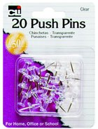 PUSH PINS CLEAR 20 COUNT